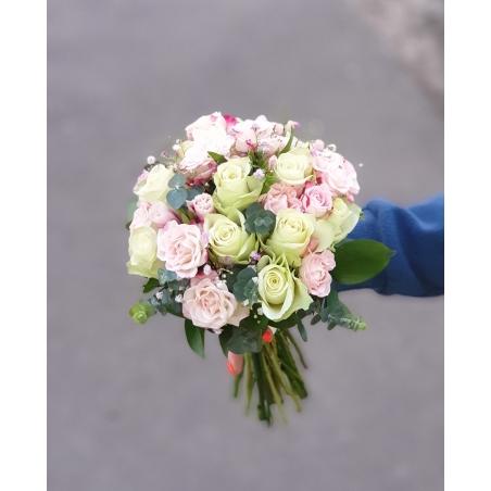 Свадебный букет Бело - розовый