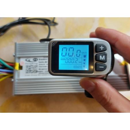 Синусный контроллер 124DX-15 48 вольт,1300 ватт, 46 ампер.+LCD дисплей прямоугольный монохромный с клавишей реостата для электровелосипедов и электросамокатов.