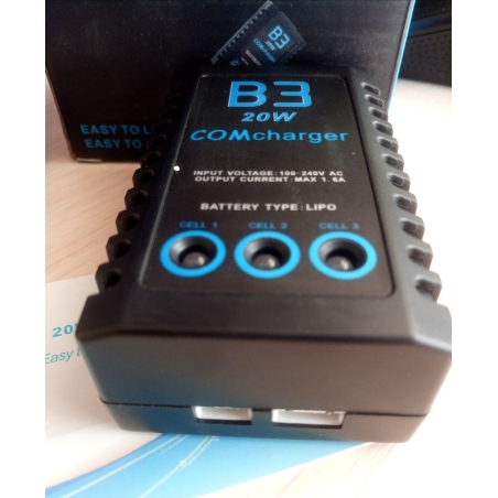 Зарядное устройство LI-ion, Li-Pol аккумуляторов COMcharger 20W B3 +Балансир, лучшие зарядное устройство для квадрокоптера