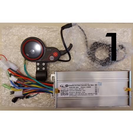 Синусный контроллер XZ-1300\46, 60 вольт, 1300 ватт, 46 ампера. + LCD дисплей круглый цветной с клавишей реостата(газ),для электровелосипедов и электросамокатов.