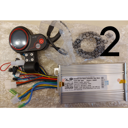 Синусный контроллер XZ-800\36, 60 вольт, 800 ватт, 36 ампера. + LCD дисплей круглый цветной с клавишей реостата(газ),для электровелосипедов и электросамокатов.
