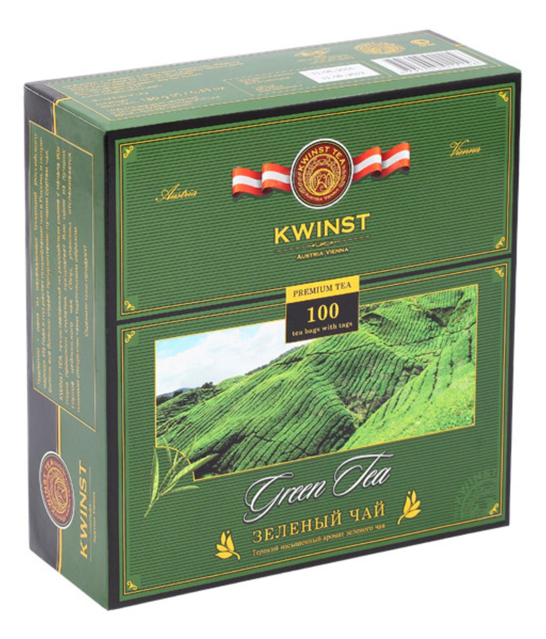 Чай KWINST, зеленый чай, 100 пакетиков