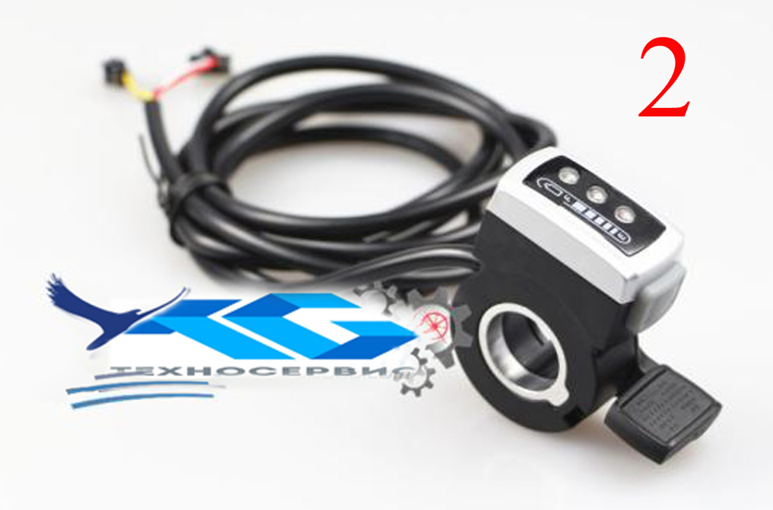 Клавиша газа АКБ-24v - (акселератор) с одной кнопкой и Led диодами показания заряда,  для электросамокатов электровелосипедов, электроскутеров
